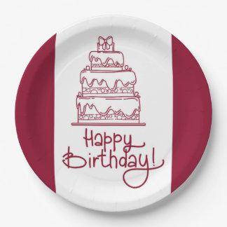 Prato De Papel Design vermelho e branco do bolo do feliz