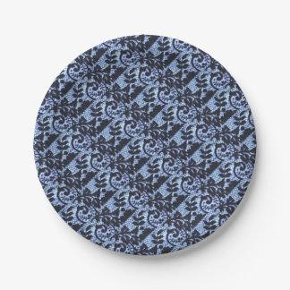 Prato De Papel Detalhe preto & azul bonito do tecido do laço