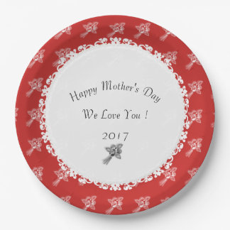 Prato De Papel Dia das mães--Anniversary-Template_Red-White