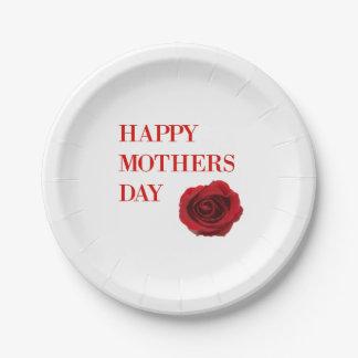 Prato De Papel Dia das mães da rosa vermelha