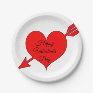 Prato De Papel Dia dos namorados vermelho editável do coração da