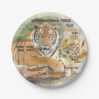 Prato De Papel Dia internacional do tigre, o 29 de julho, arte da