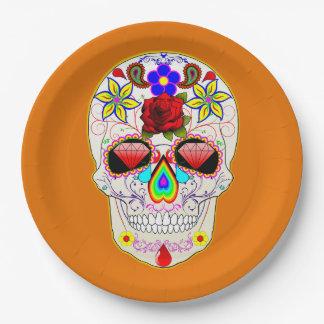Prato De Papel Dia mexicano da arte do teste padrão do crânio do
