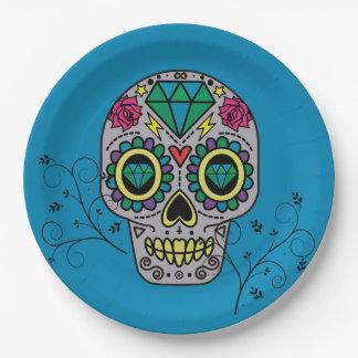 Prato De Papel Dia mexicano do teste padrão do crânio do açúcar