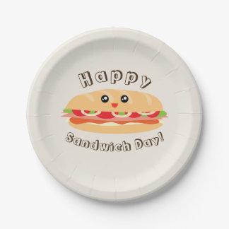 Prato De Papel Dia nacional feliz do sanduíche bonito e Kawaii