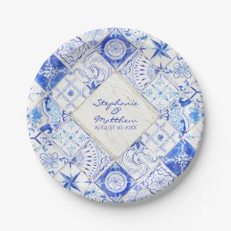 Prato De Papel Diamante branco azul do azulejo do país rústico da