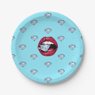 Prato De Papel Diamante chique dos lábios feminino