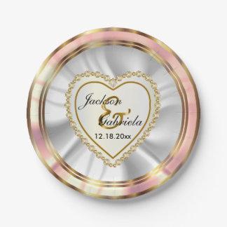 Prato De Papel Diamante do ouro & do falso & casamento ou