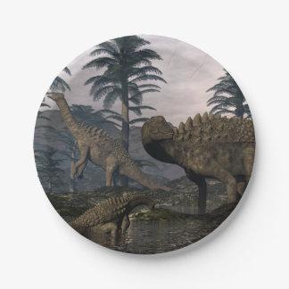 Prato De Papel Dinossauros do Ampelosaurus