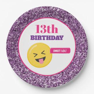 Prato De Papel Do brilho roxo adolescente do aniversário de Emoji
