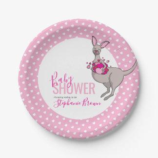 Prato De Papel Do canguru cor-de-rosa do coração do chá de