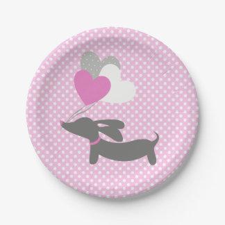 Prato De Papel Do chá de fraldas cor-de-rosa da menina do