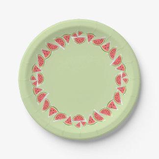 Prato De Papel Do círculo verde das partes da melancia placa de