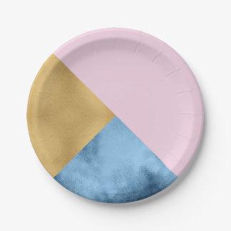 Prato De Papel Do marinho cor-de-rosa do ouro do abstrato