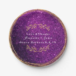 Prato De Papel Do ouro roxo da ameixa de Ametyst casamento floral