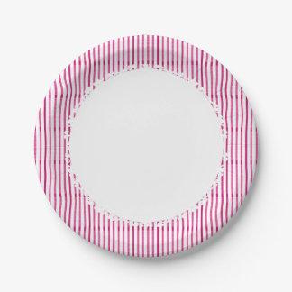 Prato De Papel Doce-Listra-Cor-de-rosa-Branco-Diário-Multi-Size