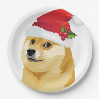 Prato De Papel Doge do Natal - doge do papai noel - cão do Natal