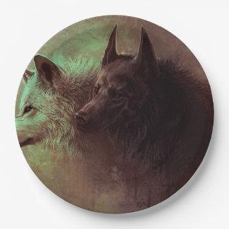 Prato De Papel dois lobos - lobo da pintura