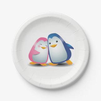 Prato De Papel Dois pinguins