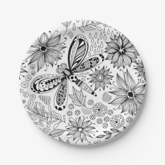 Prato De Papel Doodle da libélula e das flores