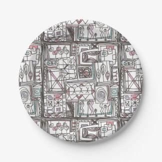Prato De Papel Doodle geométrico Subtil-Lunático