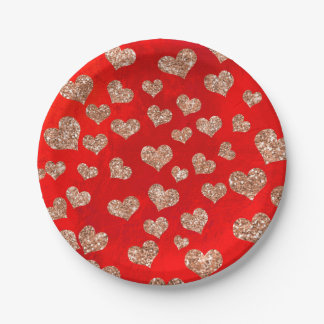 Prato De Papel Dos confetes cor-de-rosa dos corações do ouro do