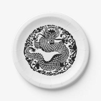 Prato De Papel Dragão asiático do vintage alguma placa do partido