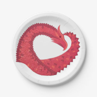 Prato De Papel Dragão vermelho do coração no branco