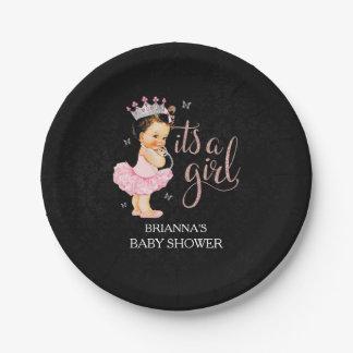 Prato De Papel É placas da princesa um chá de fraldas da menina