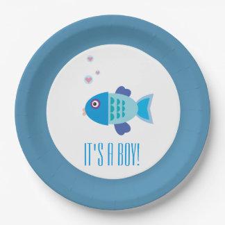 Prato De Papel É um peixe que dos desenhos animados do menino o