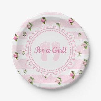 Prato De Papel É umas placas Lacey do rosa da menina & as brancas