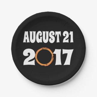 Prato De Papel Eclipse solar 21 de agosto de 2017 total