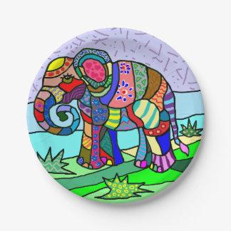 Prato De Papel Elefante artístico colorido vibrante da arte