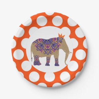 Prato De Papel Elefante bonito das cores rústicas da queda do