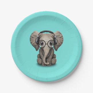 Prato De Papel Elefante bonito DJ do bebê que veste fones de