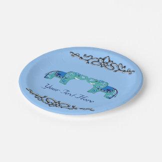 Prato De Papel Elefante do Henna (azul/luz - azul)