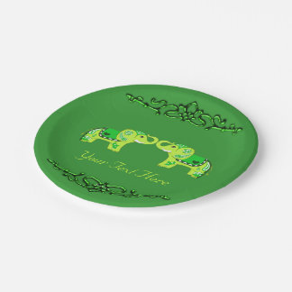 Prato De Papel Elefante do Henna (verde/verde limão)