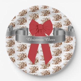 Prato De Papel Elogio vermelho grande do Natal do arco e dos