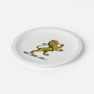Prato De Papel Emblema ereto C da crista do leão heráldico