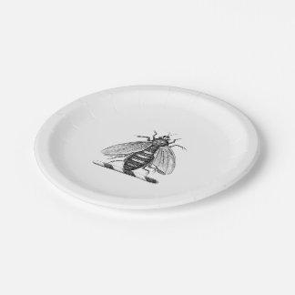 Prato De Papel Emblema heráldico da brasão da abelha do vintage