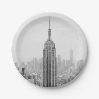 Prato De Papel Empire State Building preto e branco Manhattan