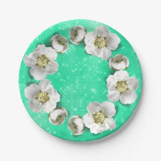 Prato De Papel Encanto metálico Sparkly branco da hortelã floral