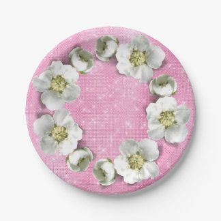 Prato De Papel Encanto metálico Sparkly do rosa floral do rosa da
