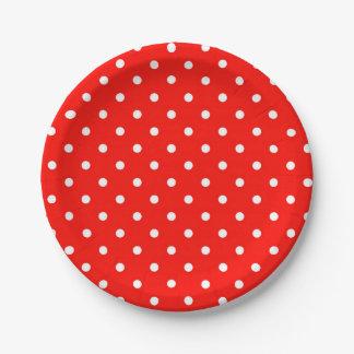 Prato De Papel Encanto moderno das bolinhas vermelhas e brancas