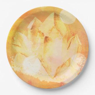 Prato De Papel Energia citrina Chakra da cura de cristal do falso