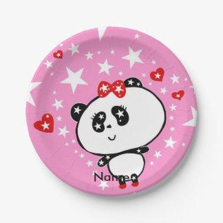 Prato De Papel Engraçado bonito dos ursos de panda personalizado