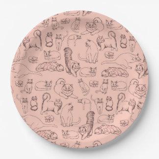 Prato De Papel Esboços das placas de papel do rosa dos gatos