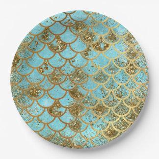 Prato De Papel Escalas de peixes azuis iridescentes da sereia do