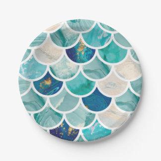 Prato De Papel Escalas de peixes borbulhantes da sereia do