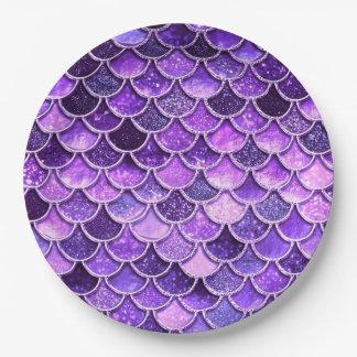 Prato De Papel Escalas ultravioletas da sereia do brilho